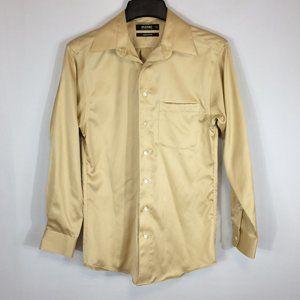 Murano Liquid Cotton Mens Khaki Dress Shirt 14 1/2